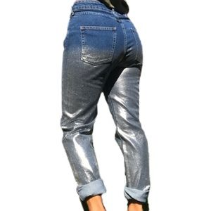 H&M Metallic Silver Dip Dyed High Rise Mom Jean